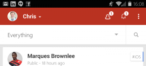 Google plus replaces the hamburger icon with an everything menu