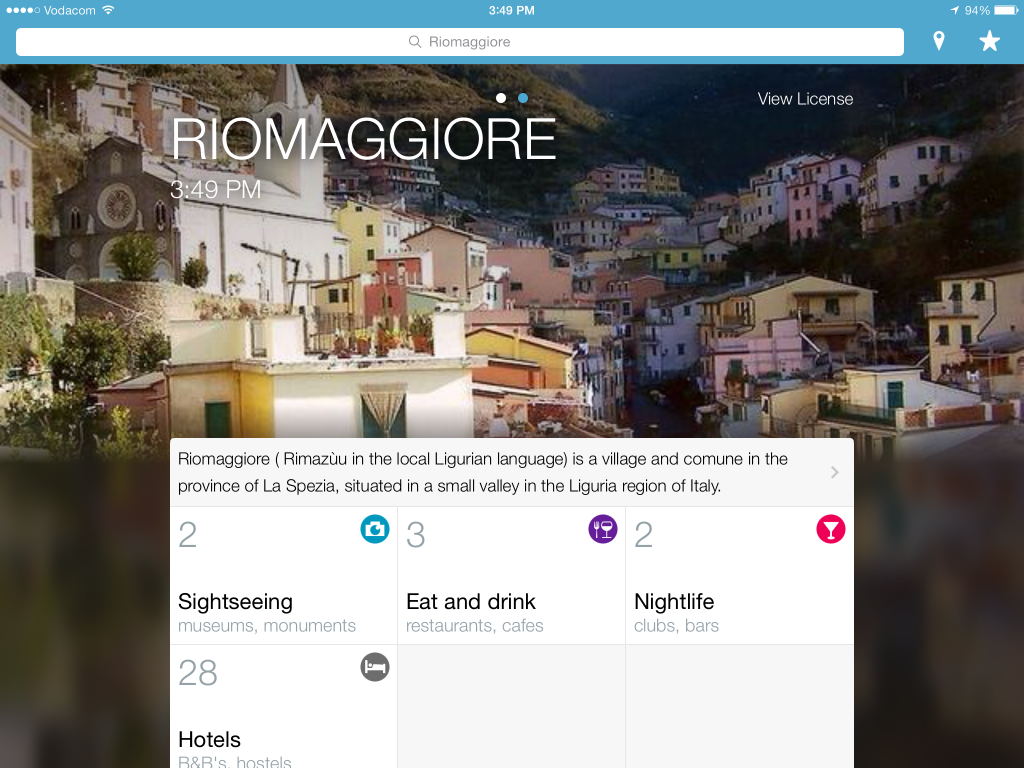 Triposo screenshot of Riommaggore